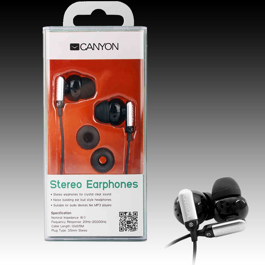 Multimedia - Headset CANYON CNR-EP09NB CANYON stereo earphone , color: black; 2 sizes of silicon ear-plugs to ensure a perfect fit, noise-isolating ear-bud style headphones, 1.2m cable