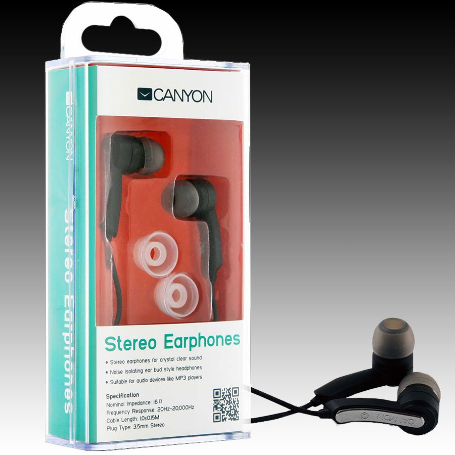 Multimedia - Headset CANYON CNR-EP01N Canyon stereo earphone CNR-EP01N , color:  black ; 2 sizes of silicon ear-plugs to ensure a perfect fit, noise-isolating ear-bud style headphones