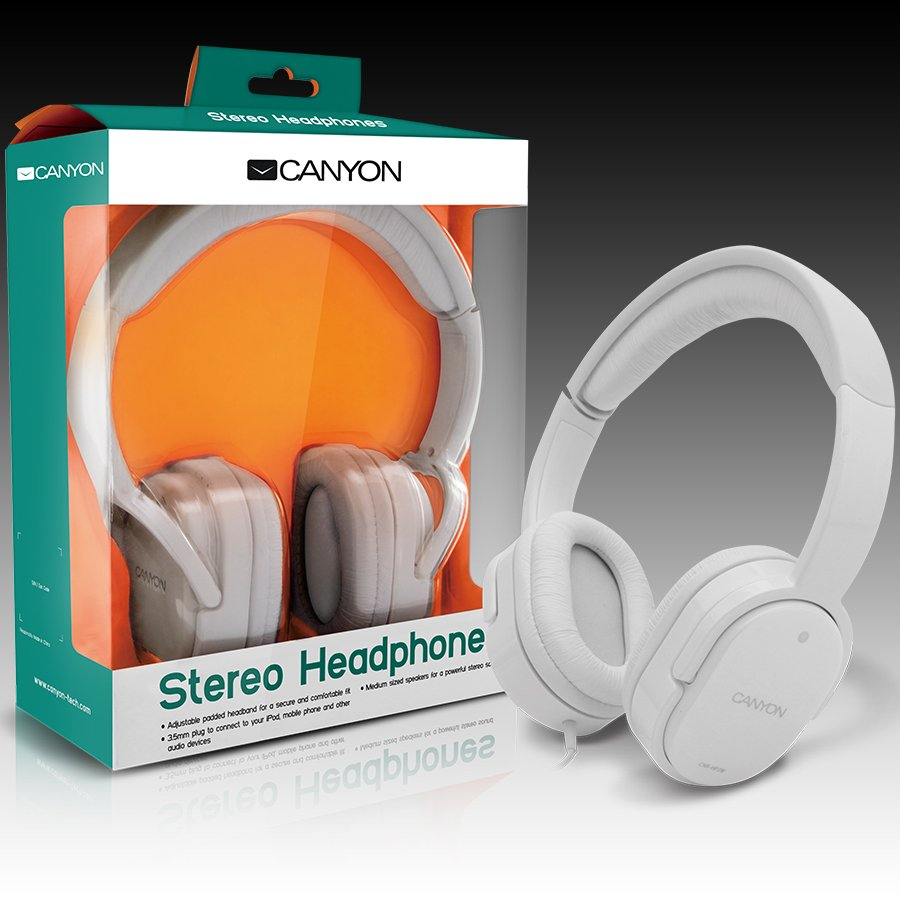 Multimedia - Headset CANYON CNR-HP03NW Canyon Headphones ; color: white; Impedance: 32 Ohm;  Frequency Response: 20Hz-20kHz ; Sensitivity: 106 dB ; cable length: 1.8m ; stereo 3.5mm plug