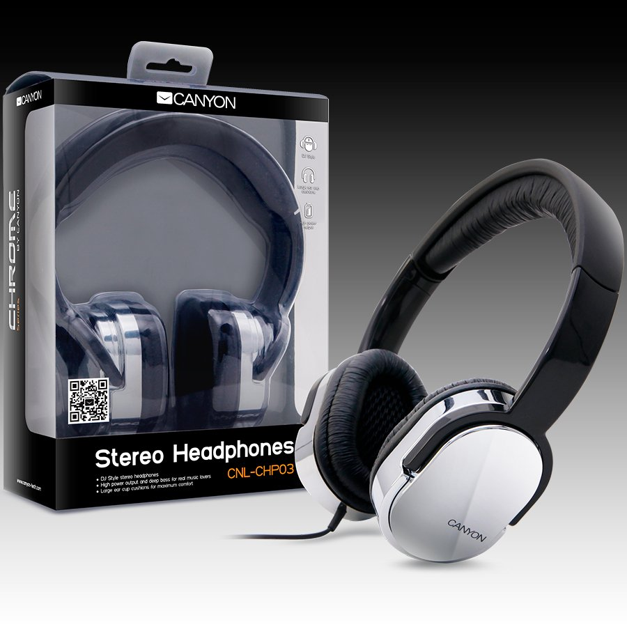 Multimedia - Headset CANYON CNL-CHP03 Headphones CANYON CNL-CHP03 (Cable) Chrome Black, Ret. (Blister)