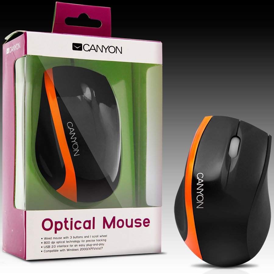 Input Devices - Mouse Box CANYON CNR-MSO01NO Мишка CANYON CNR-MSO01N (Кабел, Оптичен 800dpi,3 btn,USB), Black/Orange