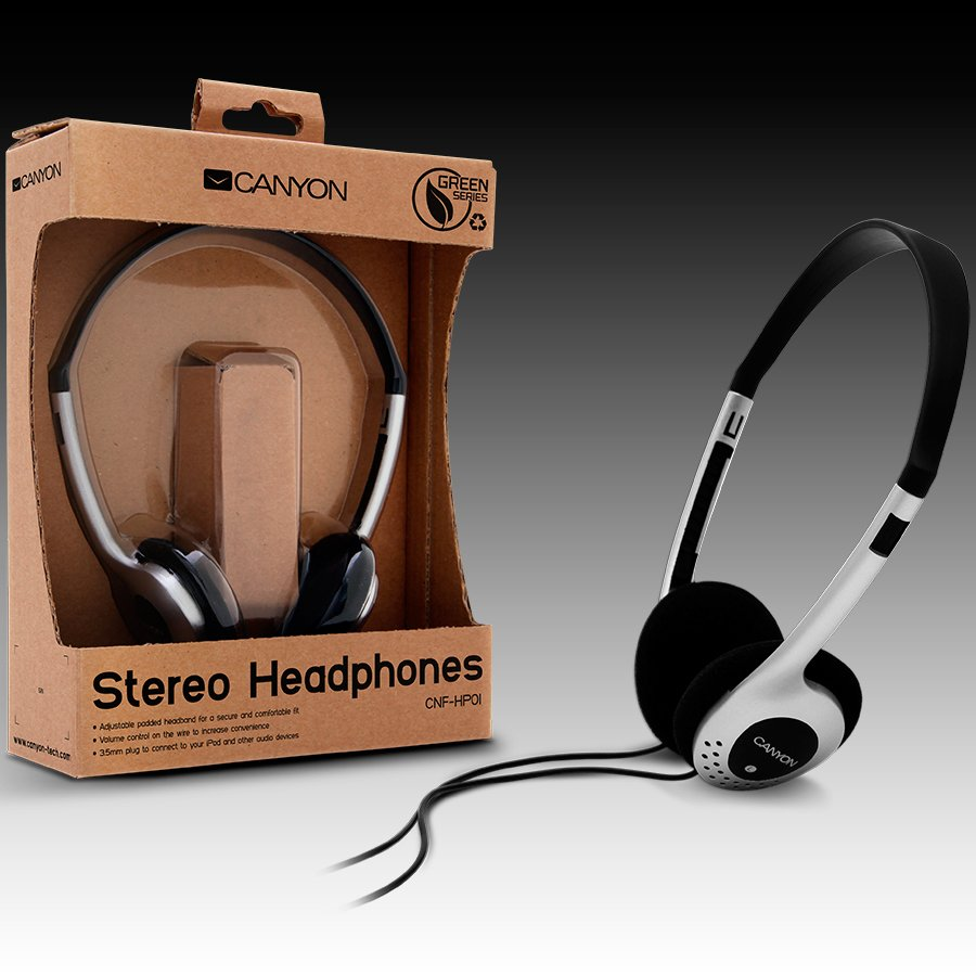 Multimedia - Headset CANYON CNF-HP01 Headphones CANYON CNF-HP01 (Dynamic, 20Hz-20kHz, Кабел, 1.8m) Сребрист/Черен, С опаковка