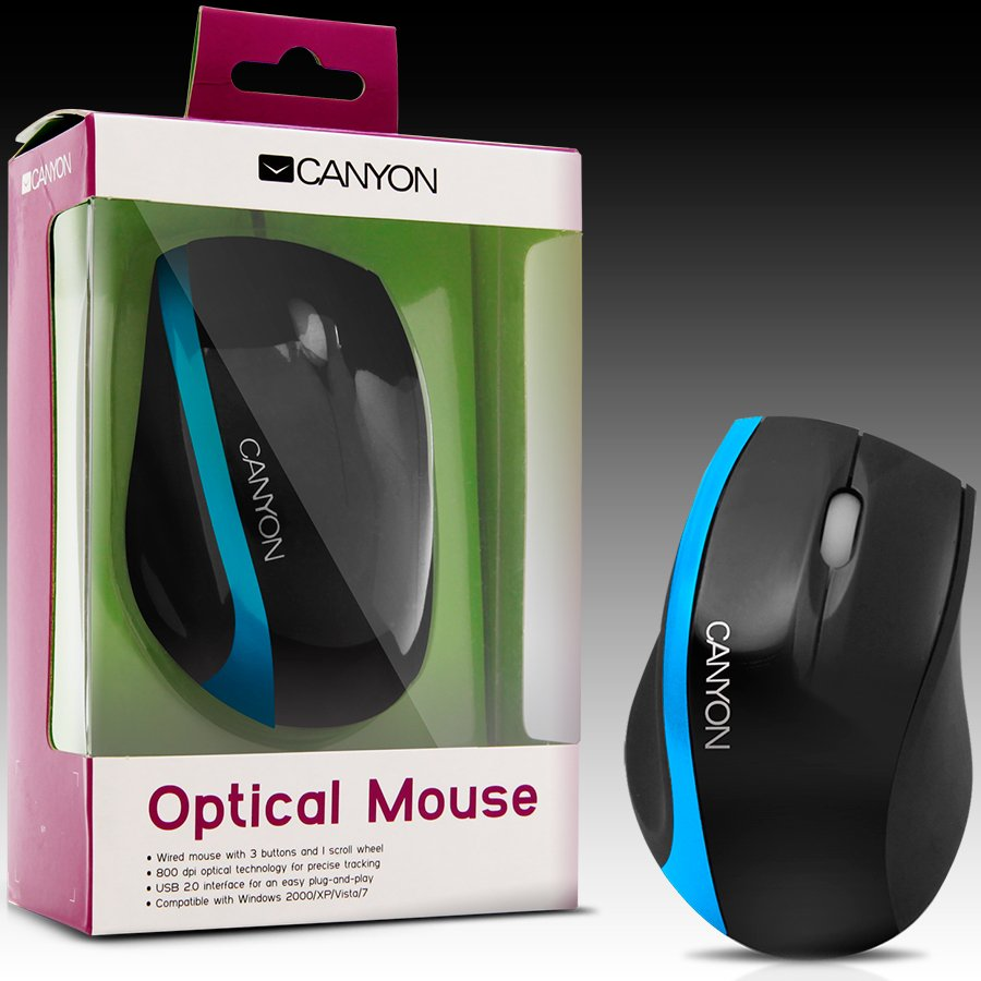 Input Devices - Mouse Box CANYON CNR-MSO01NBL Мишка CANYON CNR-MSO01N (Кабел, Оптичен 800dpi,3 btn,USB), Черен/Син