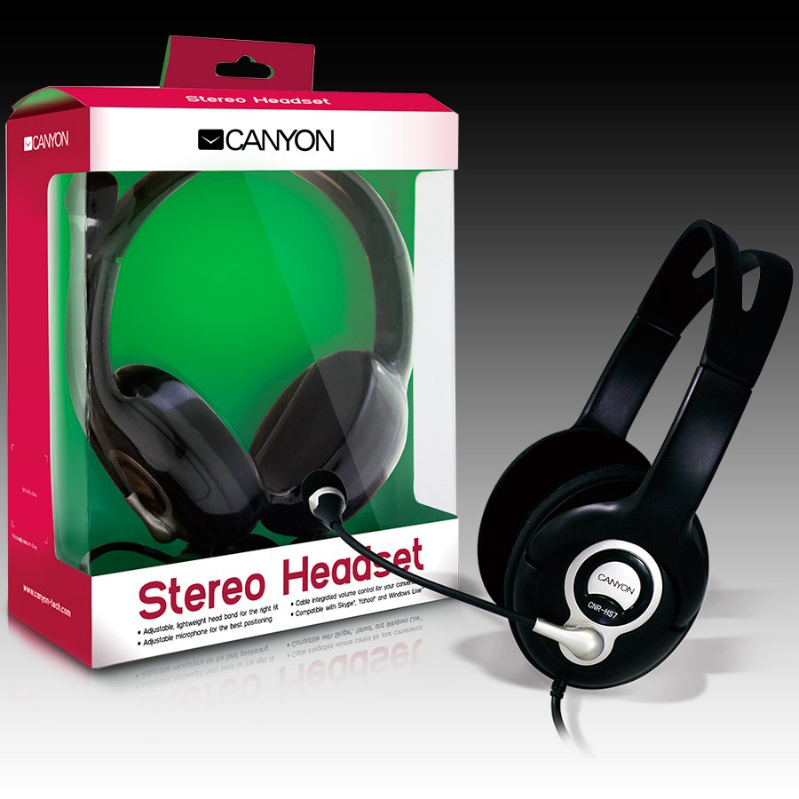 Multimedia - Headset CANYON CNR-HS07N CANYON Headset , 20Hz-20kHz, Ext. Microphone, color Black , cable integrated volume control, adjustable, lightweight headband