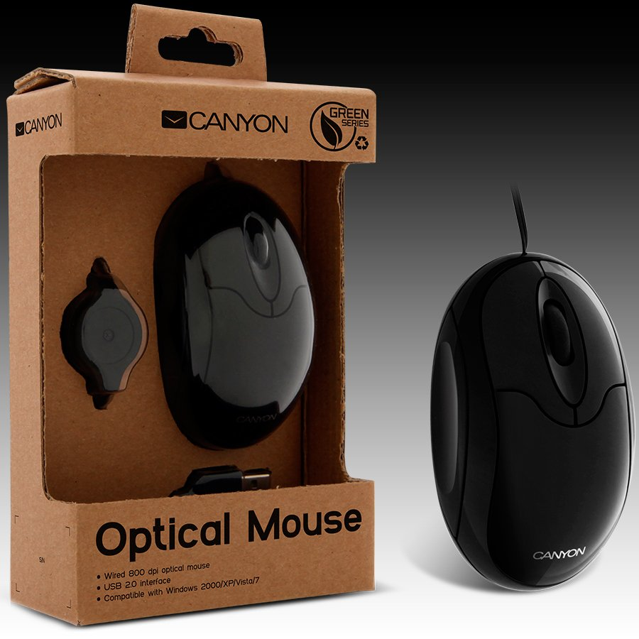 Input Devices - Mouse Box CANYON CNF-MSO01B Мишка CANYON CNF-MSO01 Green series (Кабел, Оптичен 800dpi,3 btn,USB), Черен