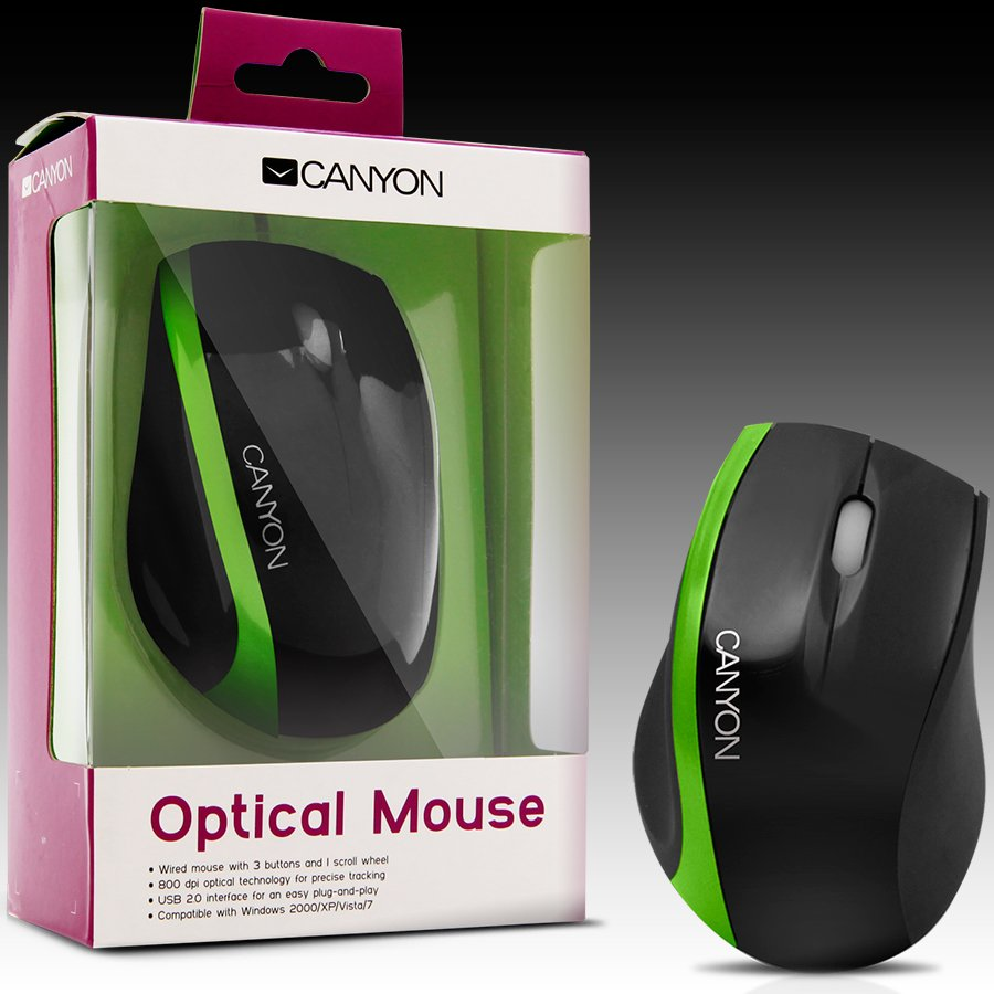 Input Devices - Mouse Box CANYON CNR-MSO01NG Мишка CANYON CNR-MSO01N (Кабел, Оптичен 800dpi,3 btn,USB), Черен/Зелен