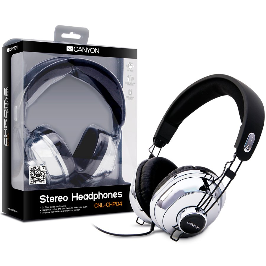 Multimedia - Headset CANYON CNL-CHP04 Headphones CANYON CNL-CHP04 (Cable) Chrome Black, Ret. (Blister)