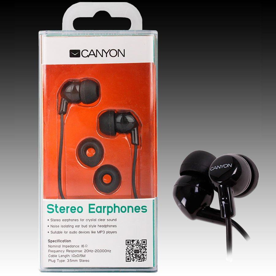 Multimedia - Headset CANYON CNR-EP10NB Canyon stereo earphone CNR-EP10NB , color: black ; 2 sizes of silicon ear-plugs to ensure a perfect fit