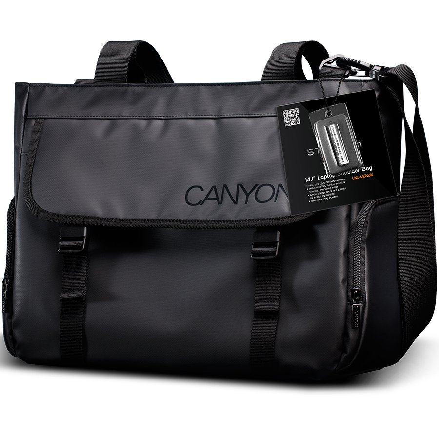"Carrying Case CANYON CNL-MBNB14 Bag CANYON Shoulder for Notebook up to 14.1"" - 15.6"", Polyvinyl Chloride, Черен"