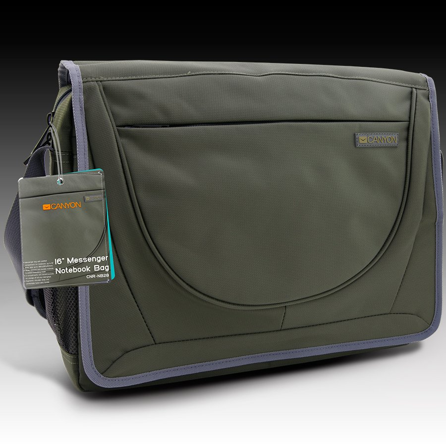 "Carrying Case CANYON CNR-NB28 Чанта за лаптоп CANYON Messenger bag for 16"" Notebook, Olive Green"