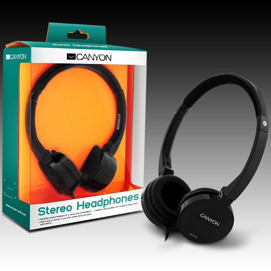 Multimedia - Headset CANYON CNR-HP04NB Canyon Headphones ; color: black; Impedance: 32 Ohm;  Frequency Response: 20Hz-20kHz ; Sensitivity: 106 dB ; cable length: 1.8m ; stereo 3.5mm plug