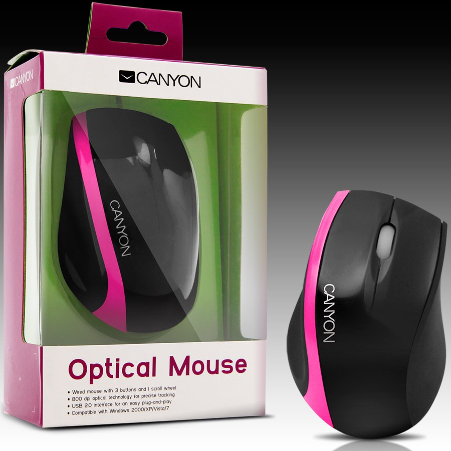 Input Devices - Mouse Box CANYON CNR-MSO01NP Мишка CANYON CNR-MSO01N (Кабел, Оптичен 800dpi,3 btn,USB), Черен/Розов