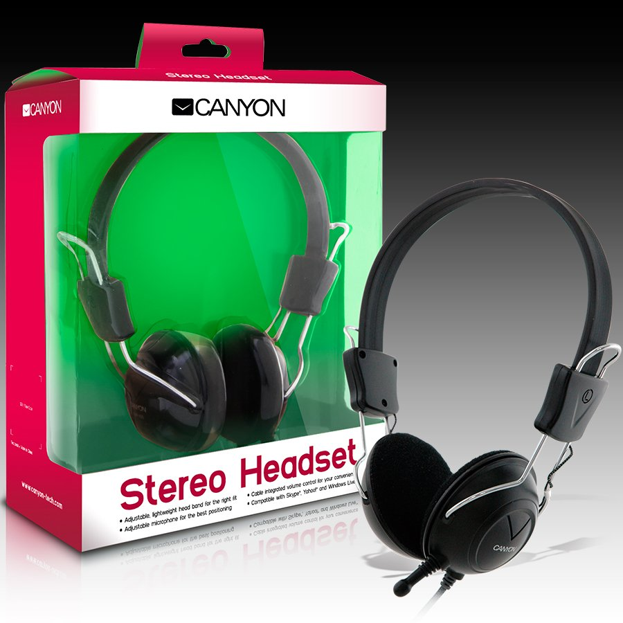 Multimedia - Headset CANYON CNR-HS08N CANYON Headset , 20Hz-20kHz, Ext. Microphone, color Black , cable integrated volume control, adjustable, lightweight headband