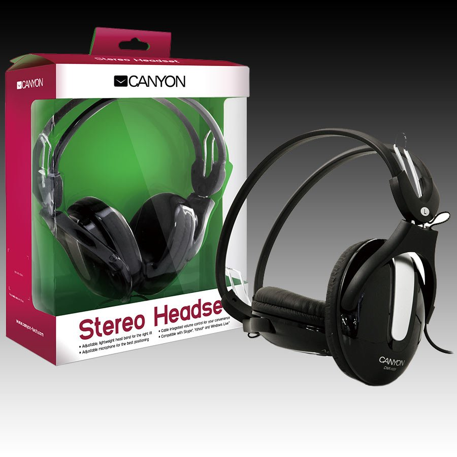 Multimedia - Headset CANYON CNR-HS09N CANYON Headset , 20Hz-20kHz, Ext. Microphone, color Black , cable integrated volume control, adjustable, lightweight headband