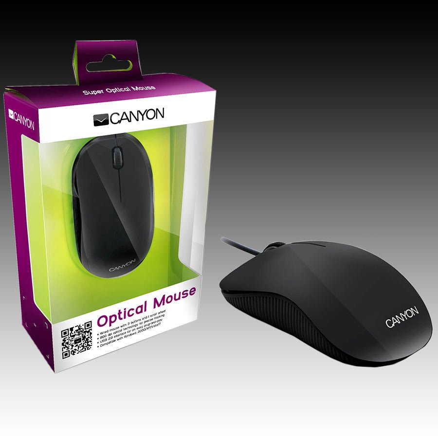 Input Devices - Mouse Box CANYON CNR-MSO10B 3 buttons and 1 scroll wheel with 1000 dpi wired optical mouse