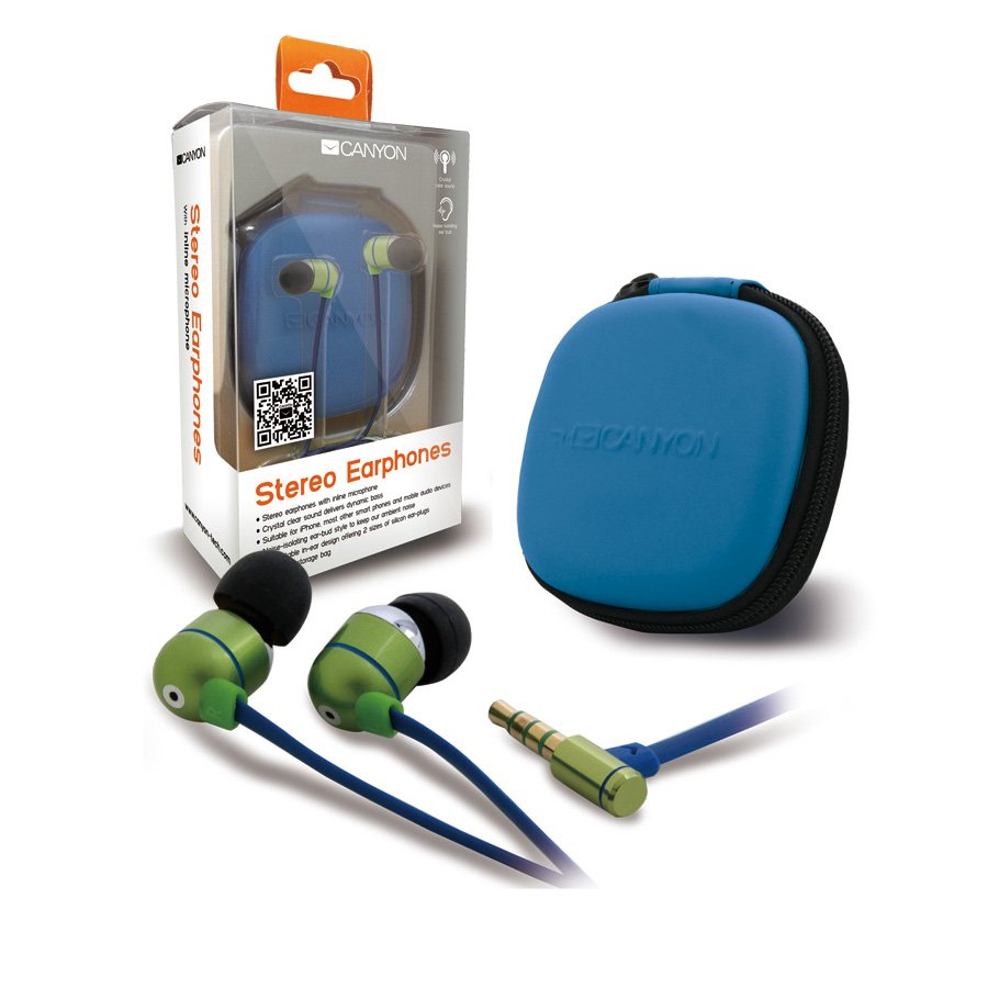 Multimedia - Headset CANYON CNA-SEP05G Canyon stereo earphones with inline microphone and hard shell storage bag,it is suitable for iPhone, most other smart phones and mobile audio devices