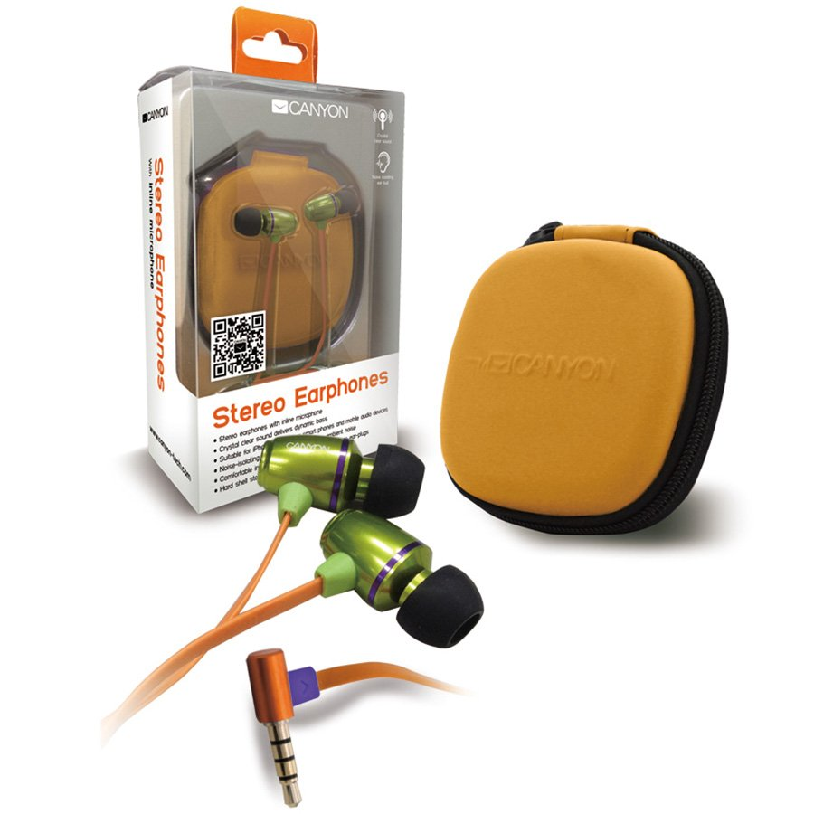 Multimedia - Headset CANYON CNA-SEP03G Canyon stereo earphones with inline microphone and hard shell storage bag, green color .it is suitable for iPhone, most other smart phones and mobile audio devices