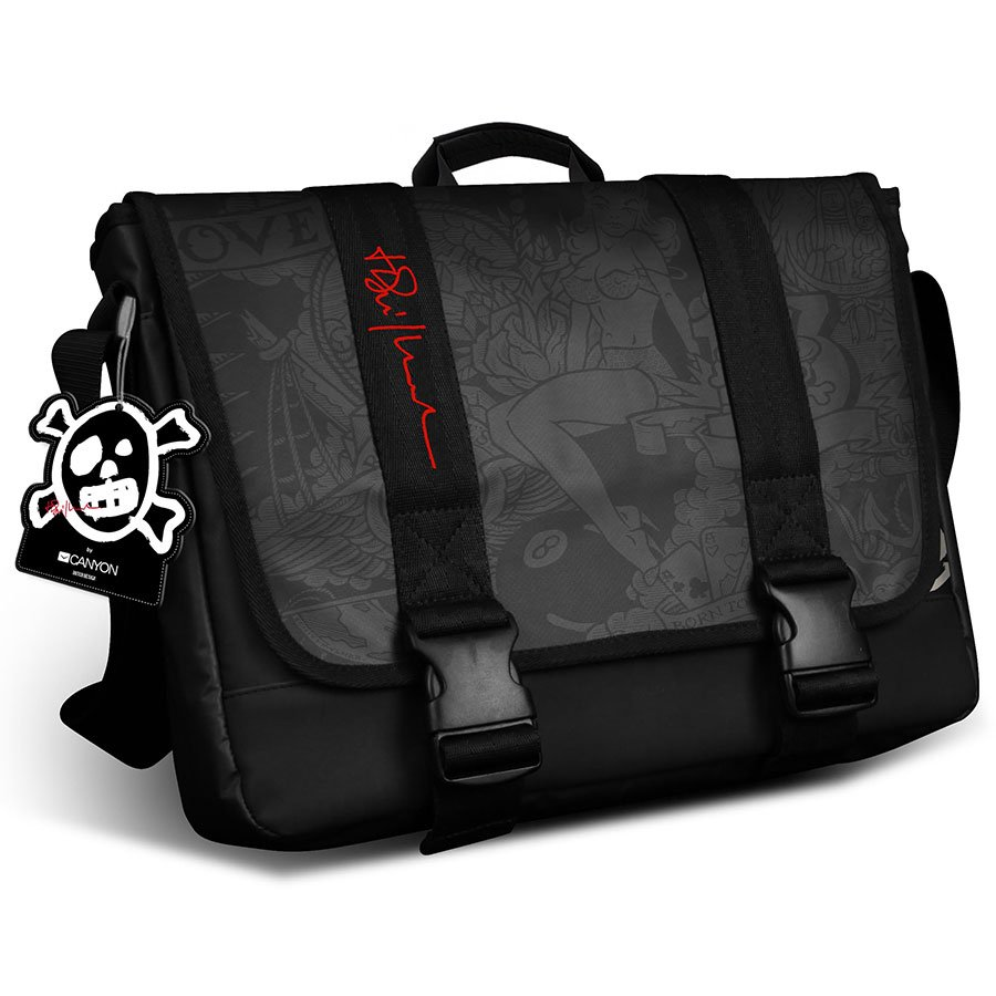 Carrying Case CANYON CNL-TNB09 CANYON CNL-TNB09 15.6'' Messenger bag in black with Tattoo printing, water resistant, durable materials