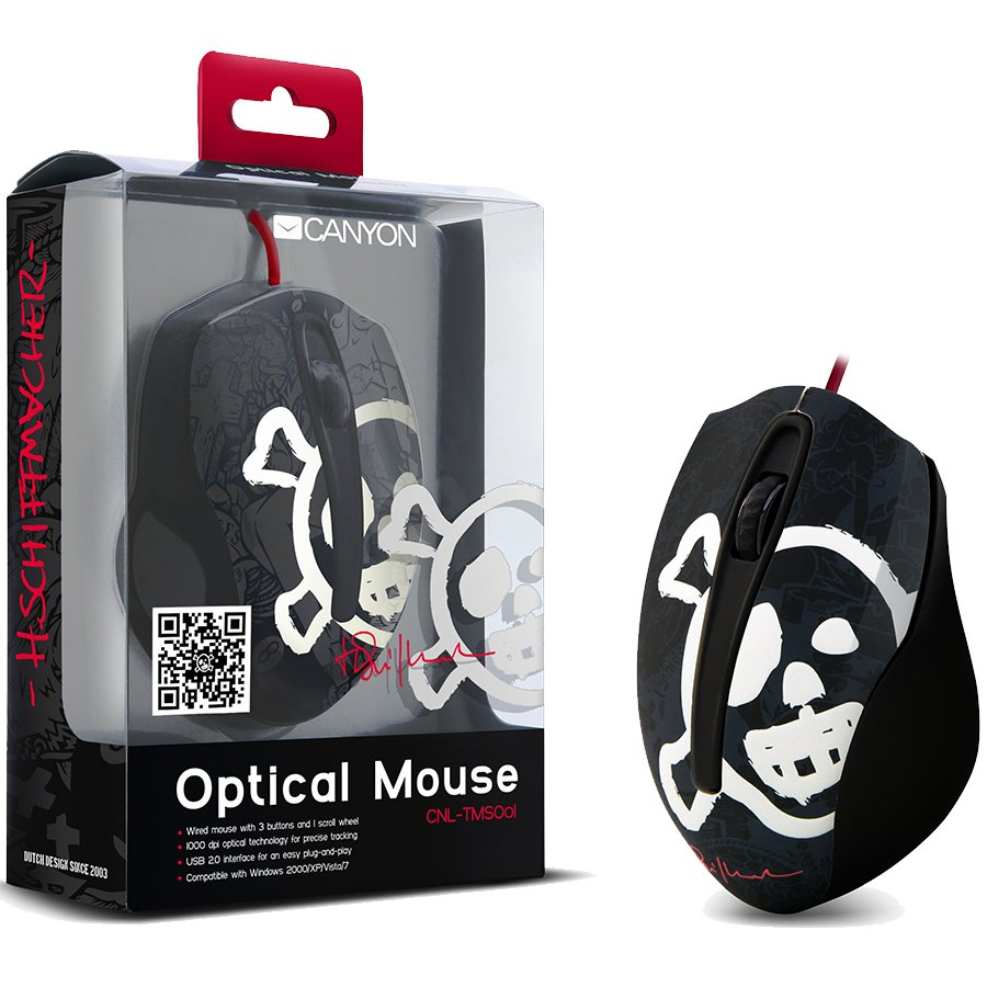 Input Devices - Mouse Box CANYON CNL-TMSO01 Input Devices - Mouse CANYON CNL-TMSO01 ( Cable, Optical,USB 2.0 ) Tattoo, Black