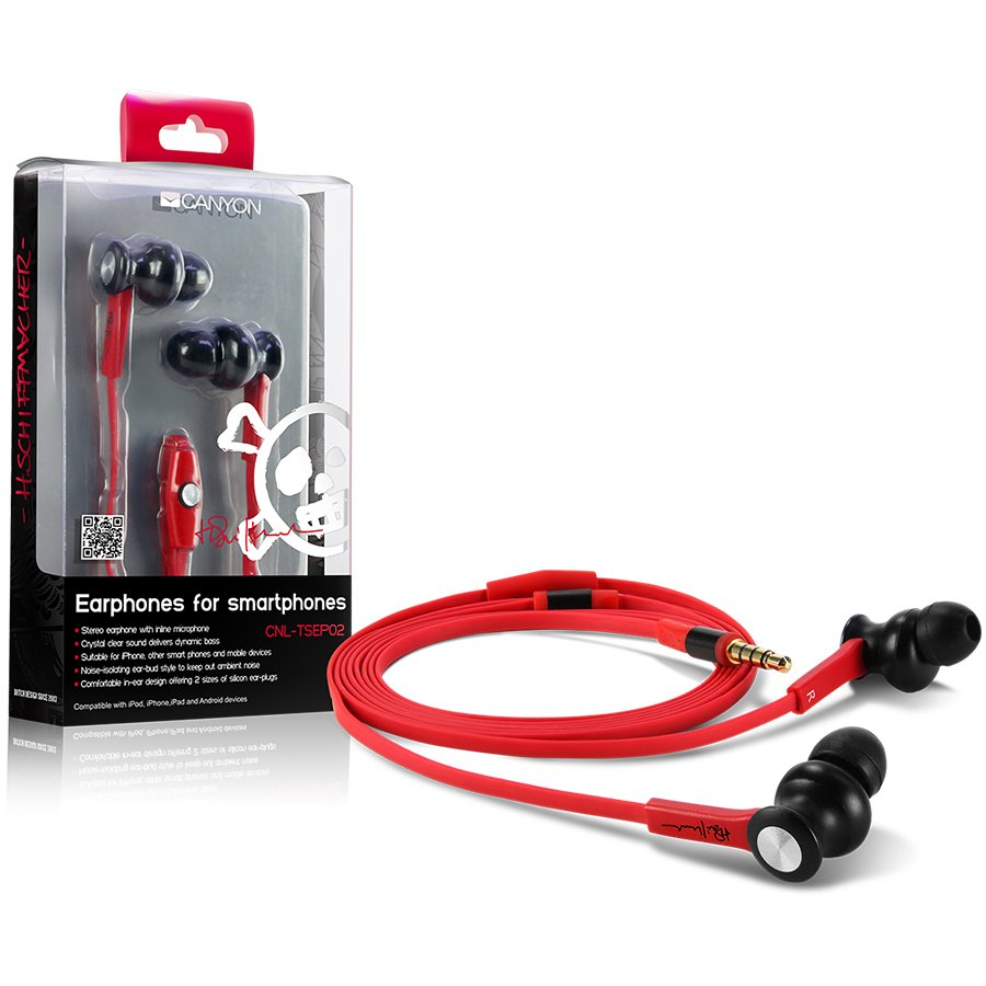 Multimedia - Headset CANYON CNL-TSEP02 Canyon stereo earphone with in-line microphone CNL-TSEP02, color: Black and red cable ; 2 sizes of silicon ear-plugs to ensure a perfect fit, suitable for iPhone, other smart phones and other mobile devices, crystal