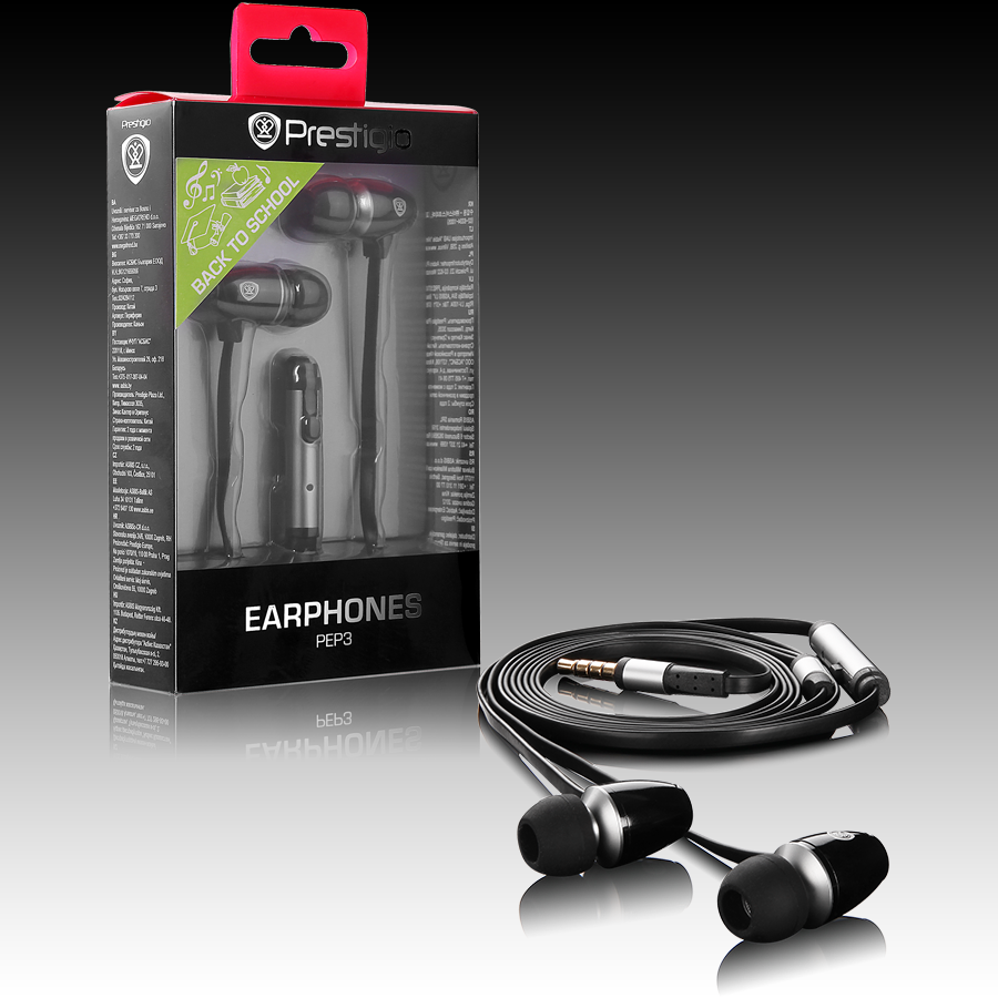 Multimedia - Headset PRESTIGIO PEP3BS Stereo earphones with microphone; Crystal clear sound delivers dynamic bass; Noise-isolating ear-bud style to keep our ambient noise; Tangling-free cable design; black with siliver color