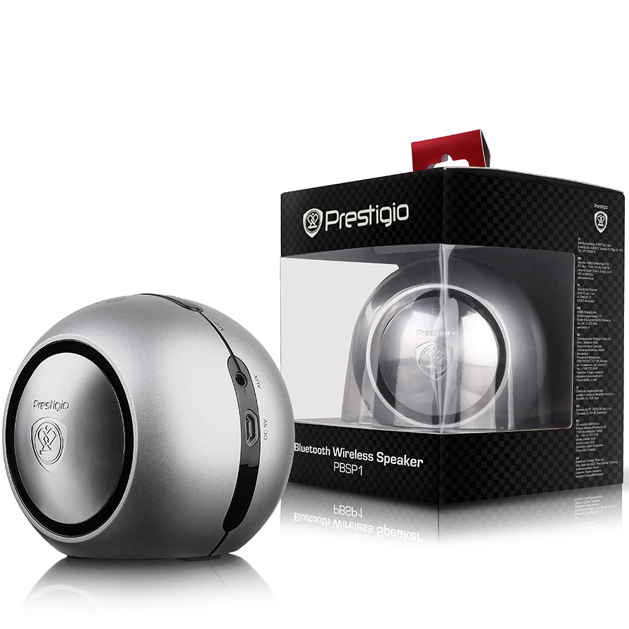 Multimedia - Speaker PRESTIGIO PBSP1SI Silver color Bluetooth speaker with NFC function, built-in rechargeable Lithium battery, micro USB charging cable and 3.5mm audio cable included.(output: 2W*2, RF: 100Hz~16KHz, S/N ratio: ≥75dB)