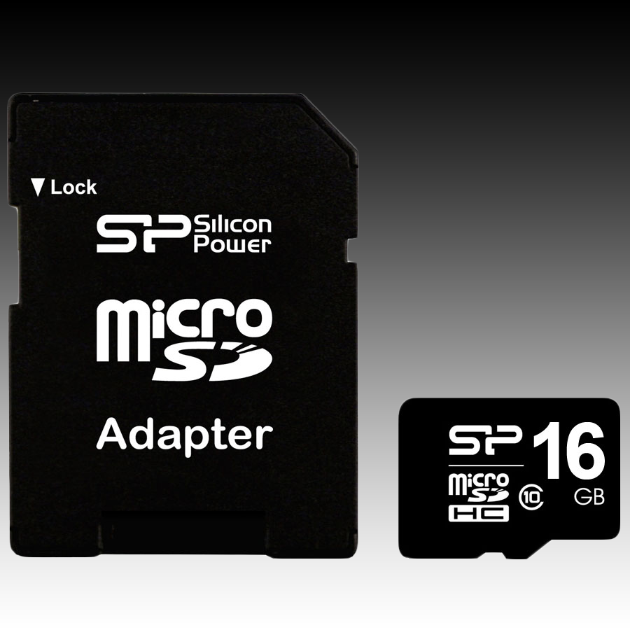Memory ( flash cards ) SILICON POWER SP016GBSTH010V10-SP SILICON POWER Micro SDHC Card 16GB (Class 10) with SD Adapter