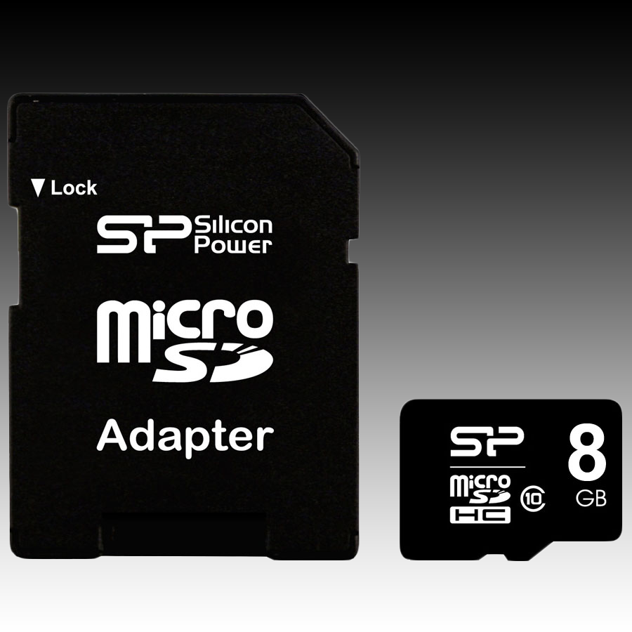 Memory ( flash cards ) SILICON POWER SP008GBSTH010V10-SP SILICON POWER Micro SDHC Card 8GB (Class 10) with SD Adapter