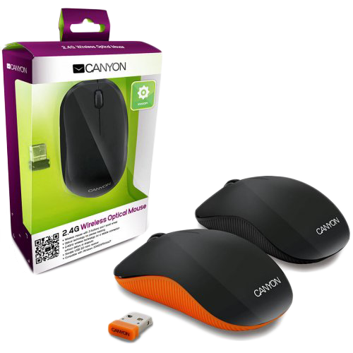 Input Devices - Mouse Box CANYON CNR-MSOW07O CANYON CNR-MSOW07O Orange color , 3 buttons and 1 scroll wheel with 1000 dpi 2.4GHZ wireless optical mouse