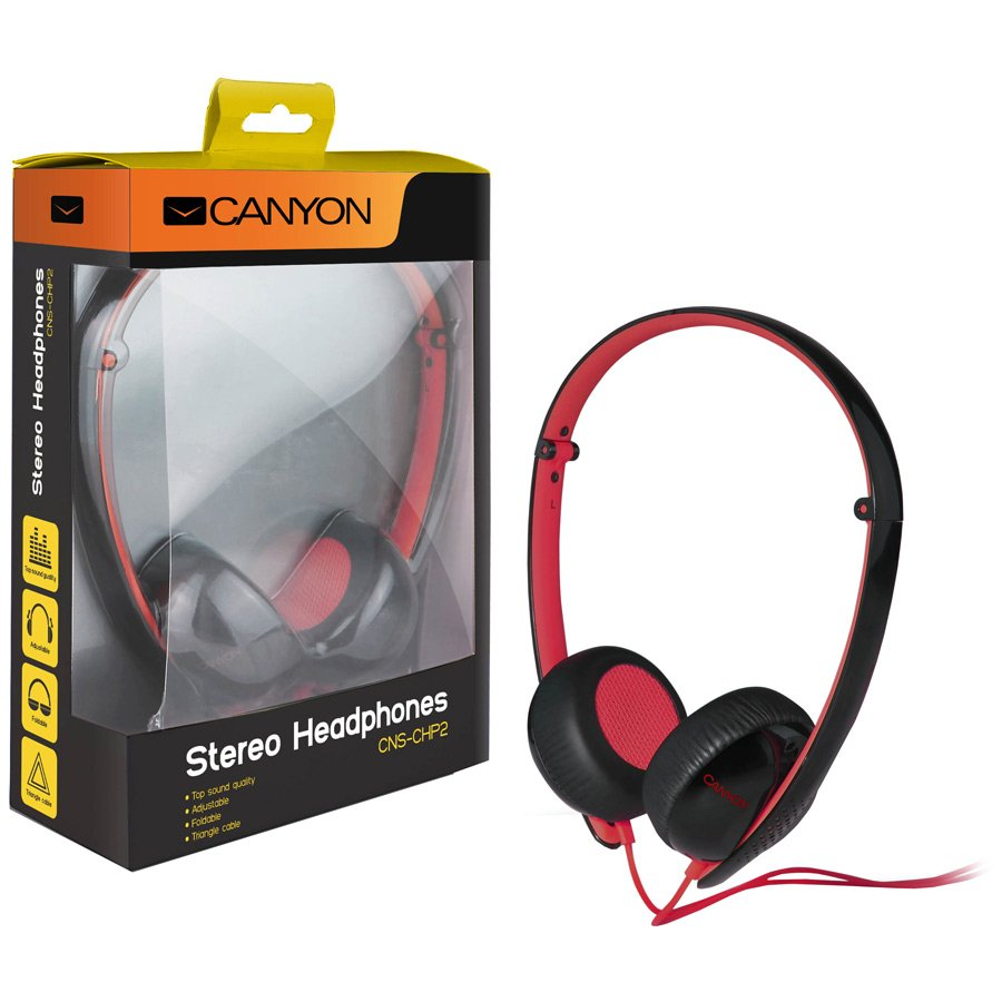 Multimedia - Headset CANYON CNS-CHP2BR Canyon stereo headphone, 3.5mm plug, black with red color