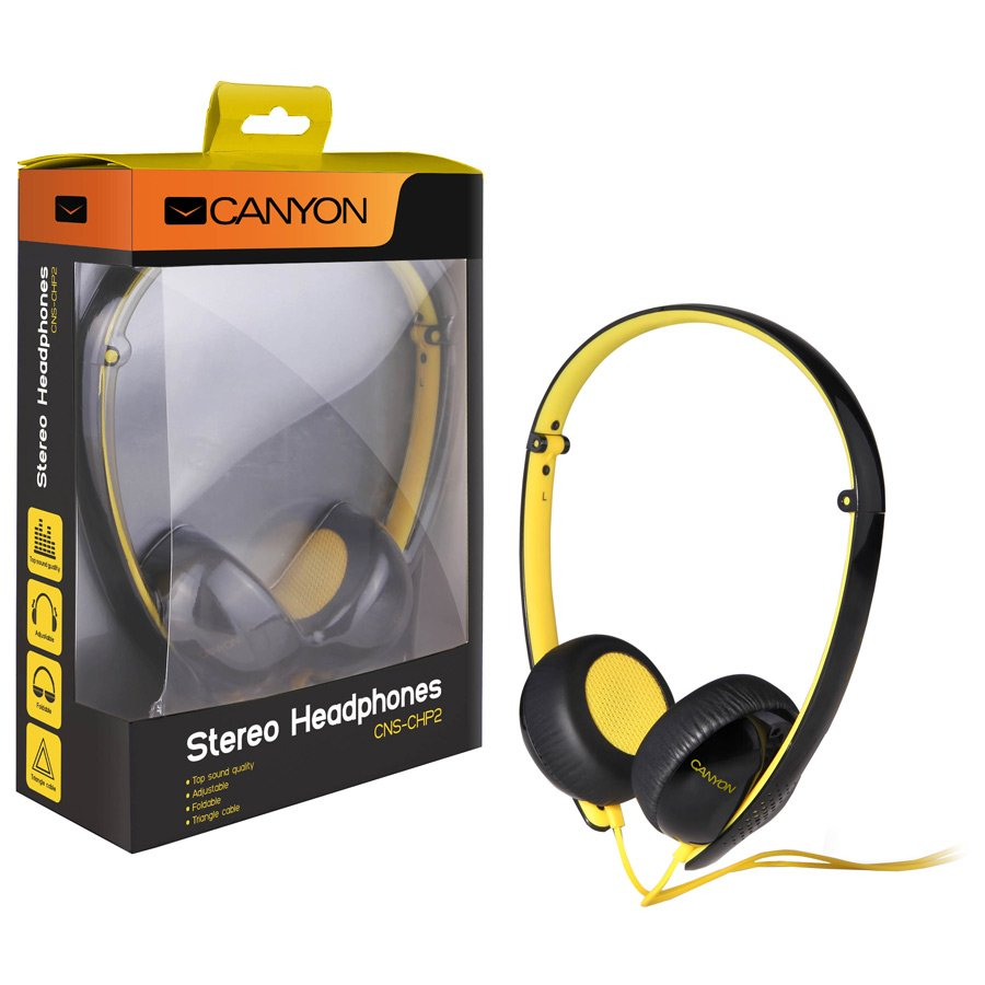 Multimedia - Headset CANYON CNS-CHP2BY Canyon stereo headphone; 3.5mm plug; black with yellow color