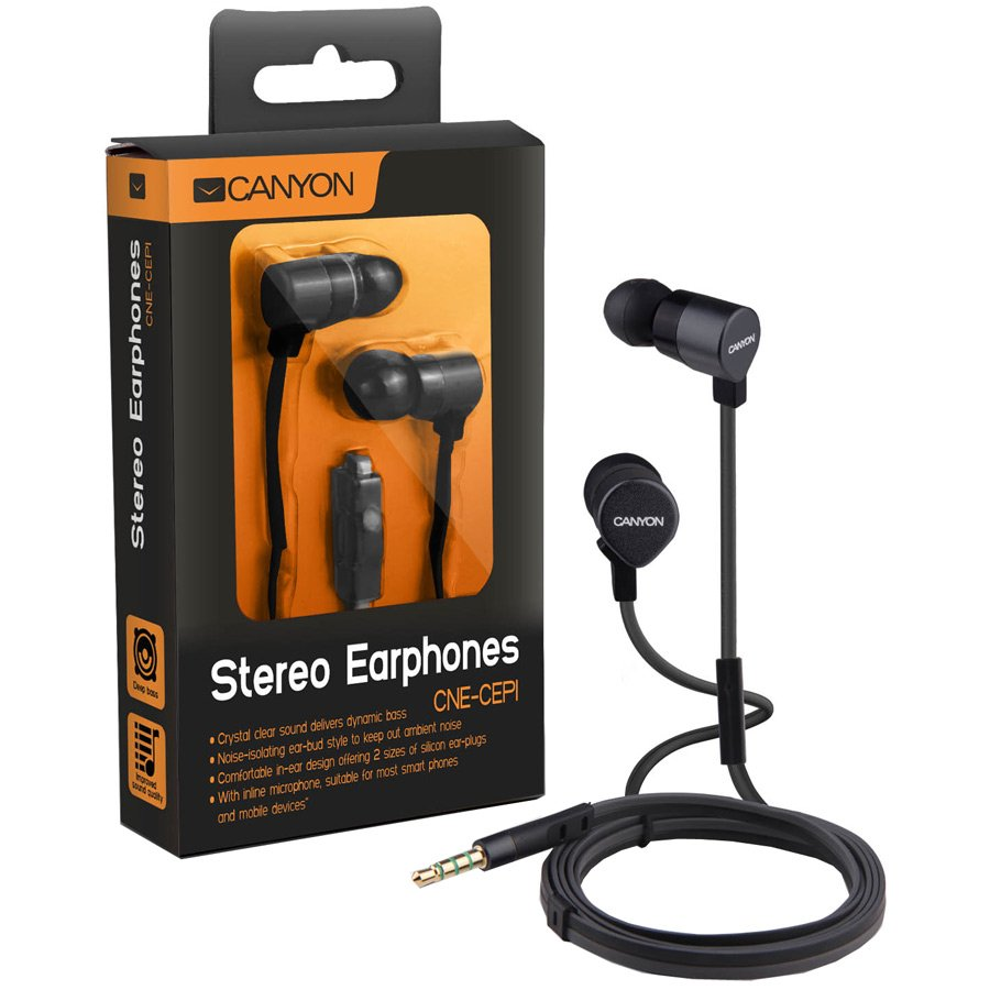Multimedia - Headset CANYON CNE-CEP1B CANYON metal housing earphone with handsfree function for most smartphones and mobile devices, crystal clear sound, flat cable, black