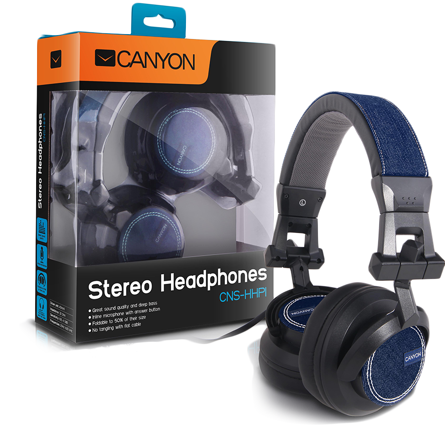 Multimedia - Headset CANYON CNS-HHP1 CANYON jeans headphones with inline microphone, around-ear shape, black+blue jeans
