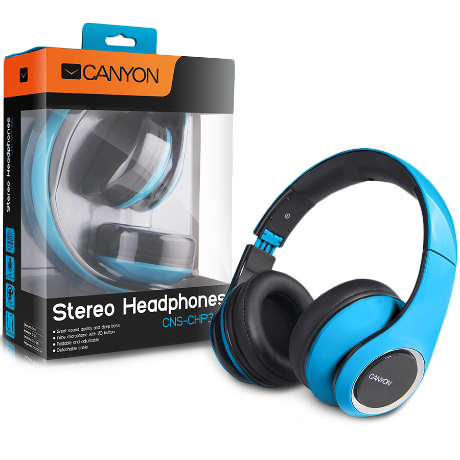 Multimedia - Headset CANYON CNS-CHP3BL CANYON fashion around ear headphones, detachable cable with inline microphone, blue