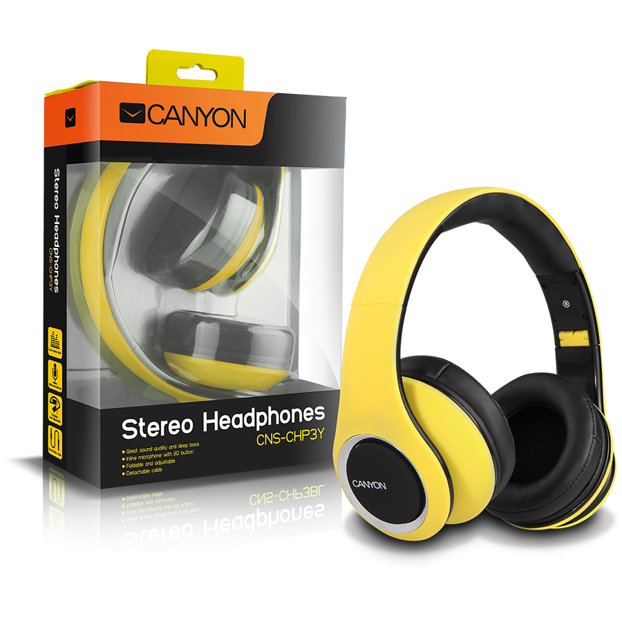 Multimedia - Headset CANYON CNS-CHP3Y CANYON fashion around ear headphones, detachable cable with inline microphone, yellow