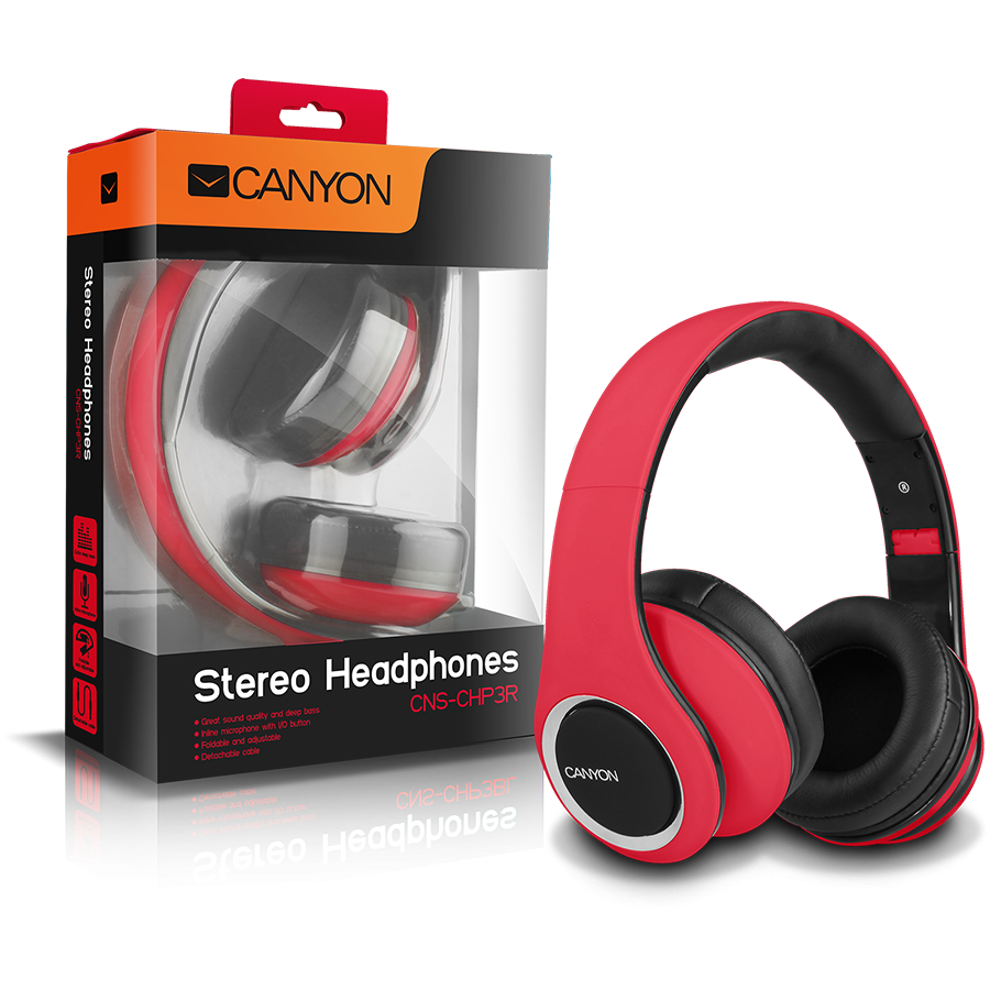 Multimedia - Headset CANYON CNS-CHP3R CANYON fashion around ear headphones, detachable cable with inline microphone, red.