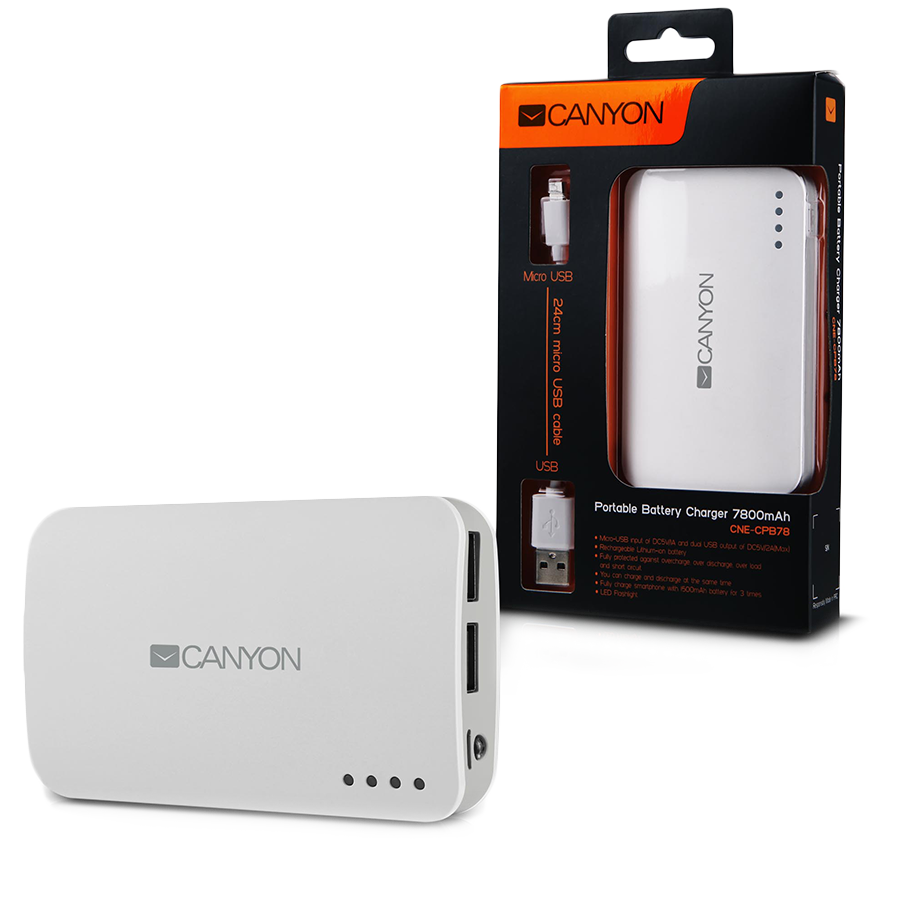 Power Bank CANYON CNE-CPB78W CANYON CNE-CPB78W White color portable battery charger with 7800mAh, micro USB input 5V/1A and USB output 5V/1A(max.)