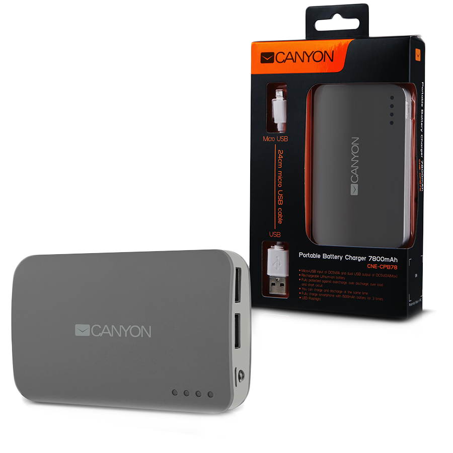 Power Bank CANYON CNE-CPB78DG CANYON CNE-CPB78DG Dark grey color portable battery charger with 7800mAh, micro USB input 5V/1A and USB output 5V/1A(max.)