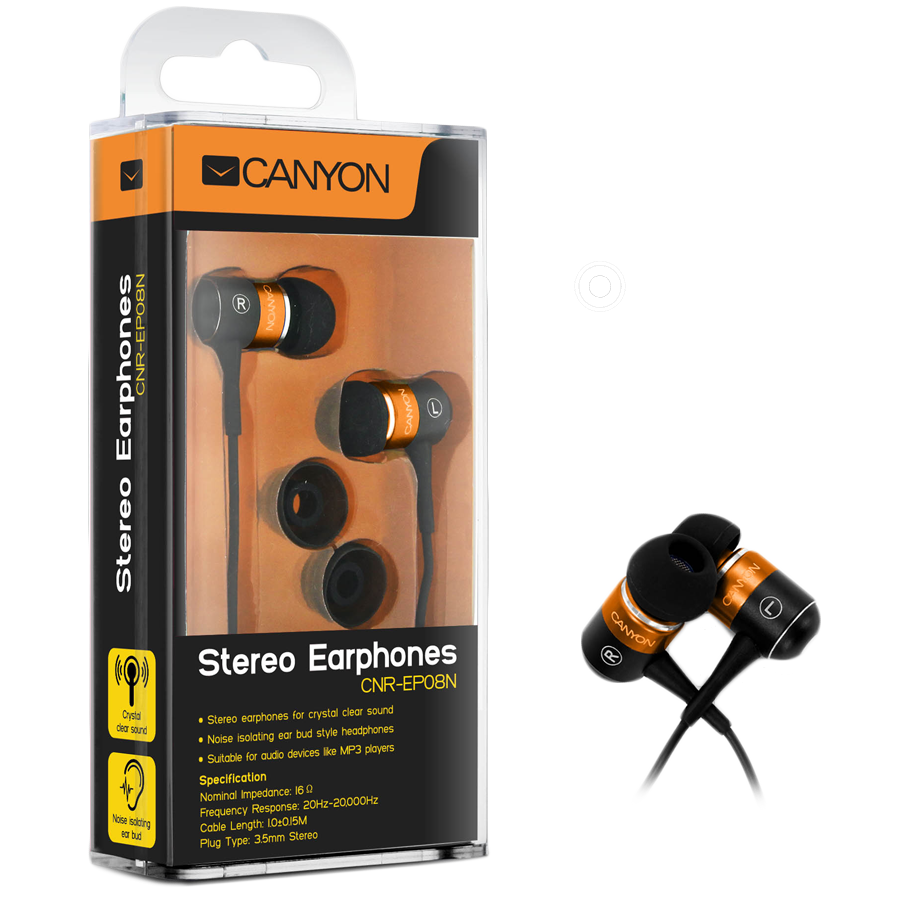 Multimedia - Headset CANYON CNR-EP08NO Canyon stereo earphone CNR-EP08NO , color: orange ; 2 sizes of silicon ear-plugs to ensure a perfect fit, noise-isolating ear-bud style headphones
