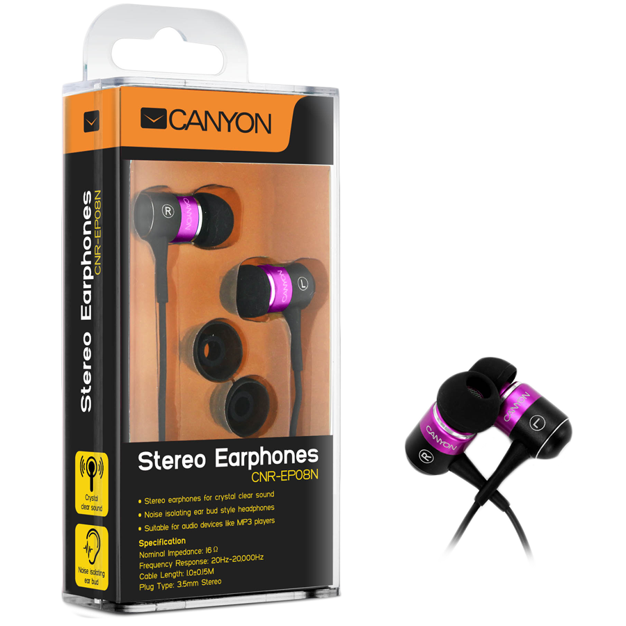 Multimedia - Headset CANYON CNR-EP08NP Canyon stereo earphone CNR-EP08N , color:  pink ; 2 sizes of silicon ear-plugs to ensure a perfect fit, noise-isolating ear-bud style headphones