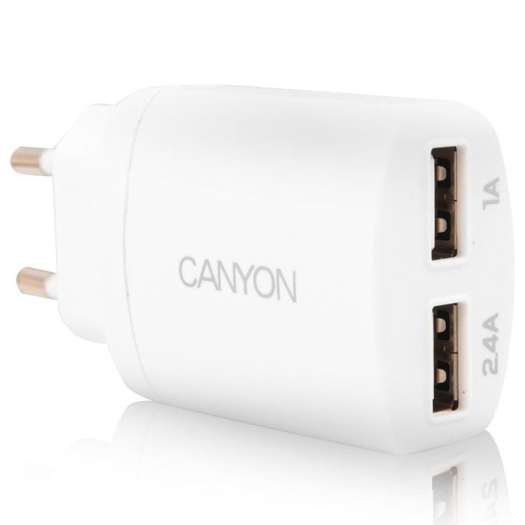 Power Adapter CANYON CNE-CHA22W Dual USB Home Carger 2.4A (Color: White)