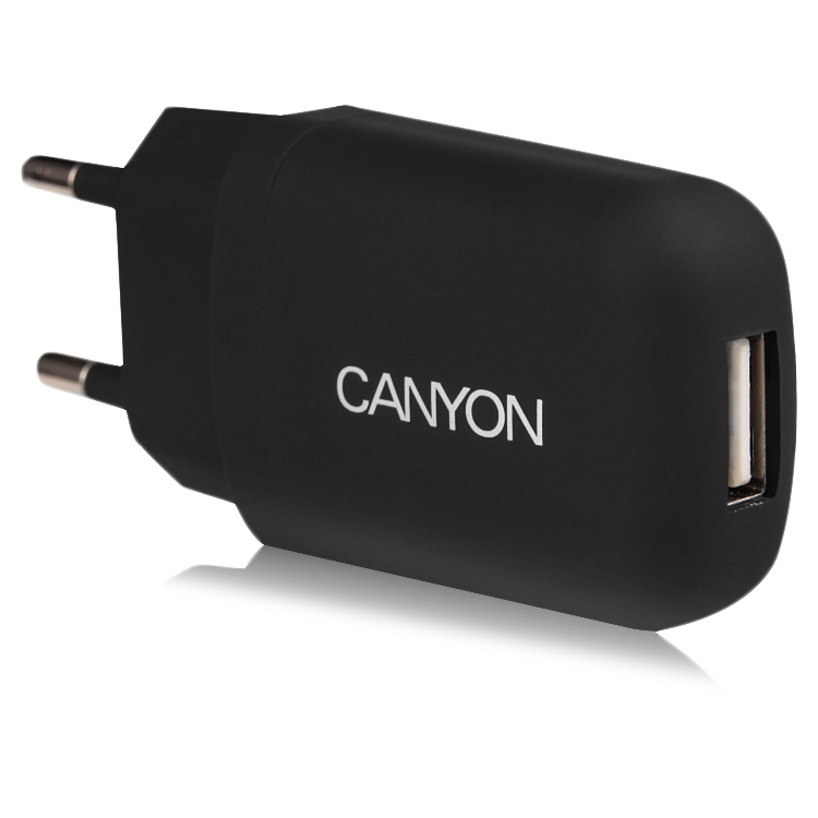 Power Adapter CANYON CNE-CHA11B Single USB Home Carger 1A (Color: Black)