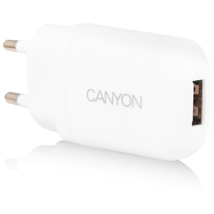 Power Adapter CANYON CNE-CHA11W Single USB Home Carger 1A (Color: White)