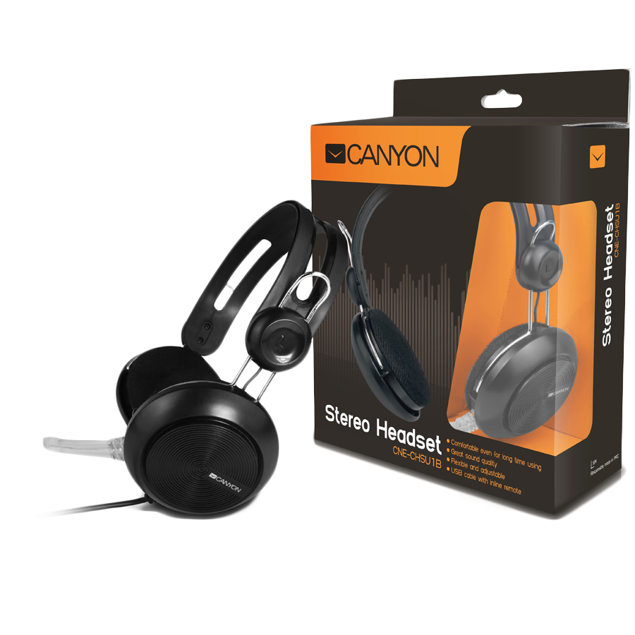 Multimedia - Headset CANYON CNE-CHSU1B Canyon simple USB headset, inline remote, black