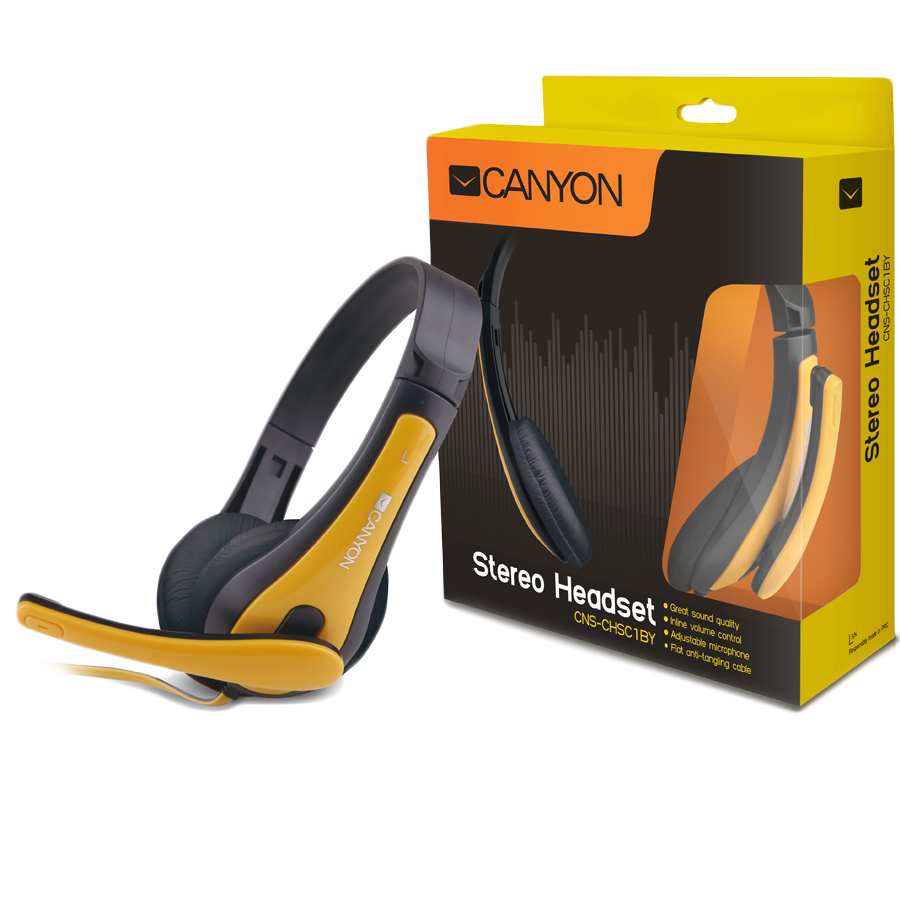 Multimedia - Headset CANYON CNS-CHSC1BY Canyon entry price PC headset, combined 3,5 plug, leather pads, Black-yellow