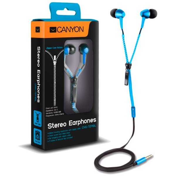 Multimedia - Headset CANYON CNS-TEP1BL CANYON zipper cable earphones, metal housing, blue.