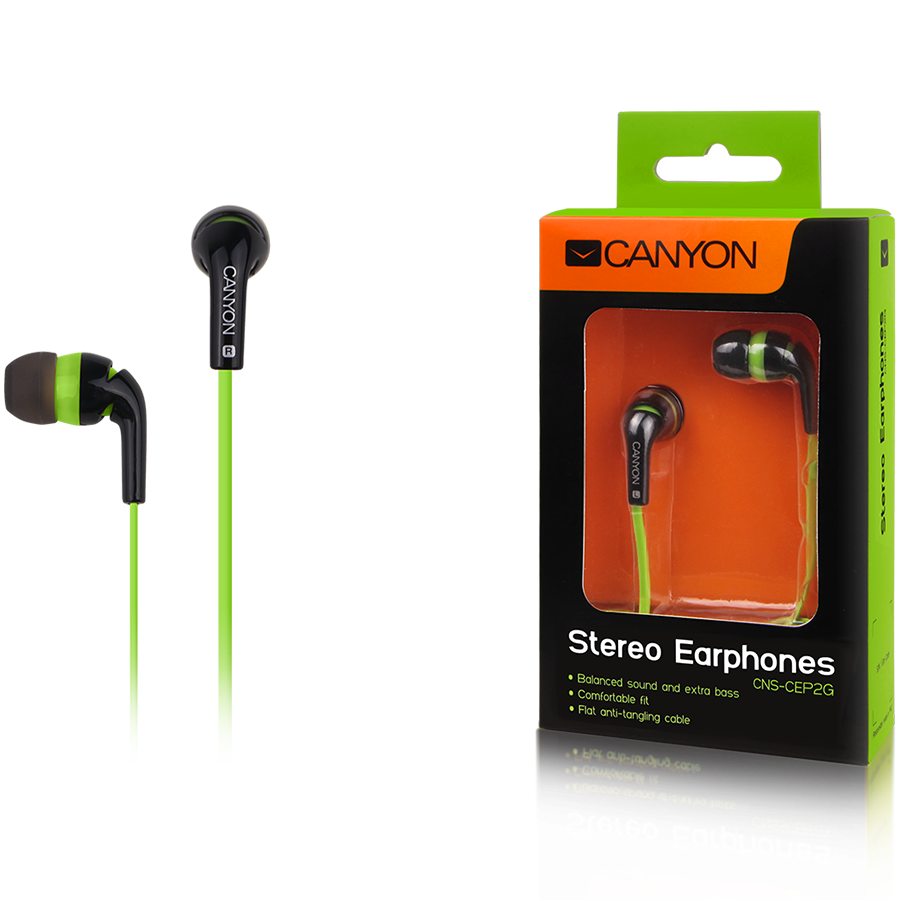 Multimedia - Headset CANYON CNS-CEP2G Canyon fashion earphones, flat anti-tangling cable, green
