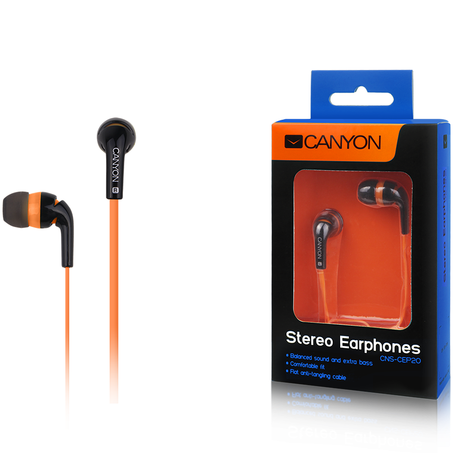 Multimedia - Headset CANYON CNS-CEP2O Canyon fashion earphones, flat anti-tangling cable, orange
