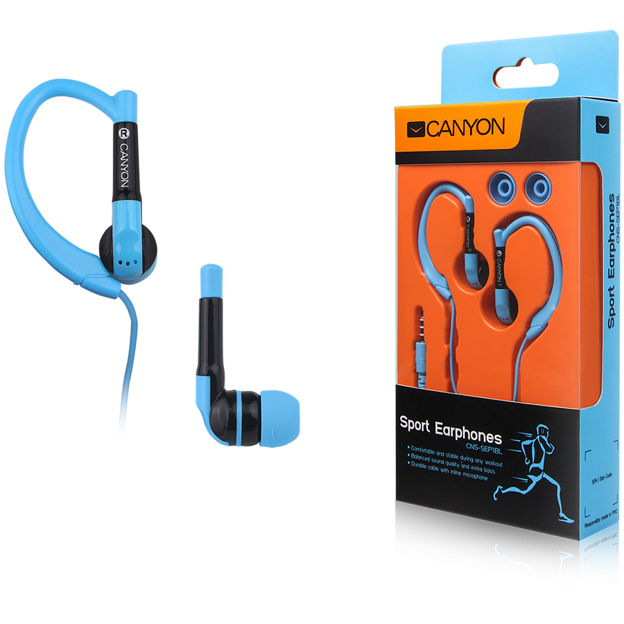 Multimedia - Headset CANYON CNS-SEP1BL Canyon sport earphones, over-ear fixation, inline microphone, blue
