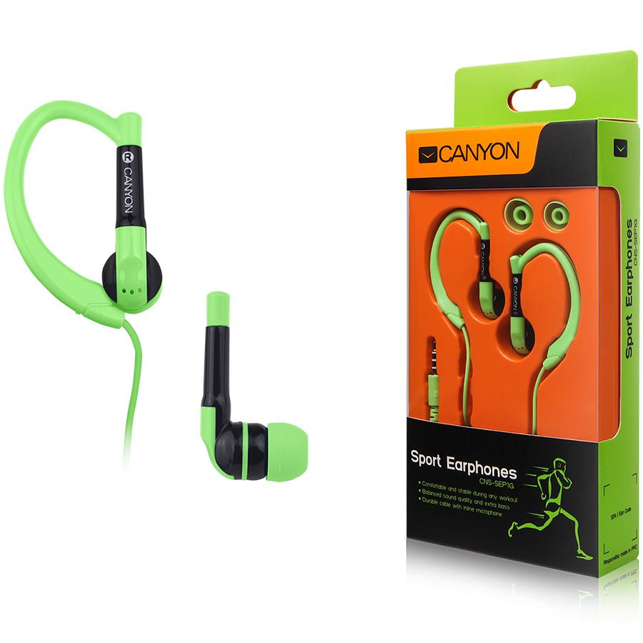 Multimedia - Headset CANYON CNS-SEP1G Canyon sport earphones, over-ear fixation, inline microphone, green